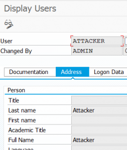 Attacker user created