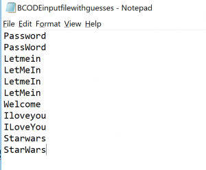 Notepad bcode file with guesses