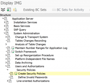 SPRO entry for security policies