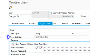 Security policy assignment in user data
