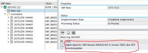 Digital signature in SAP note log