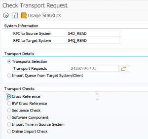 Transport check tool overview screen