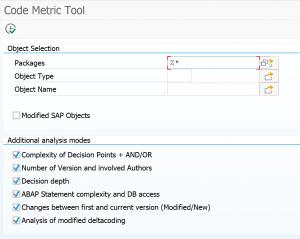 Code metric tool start screen