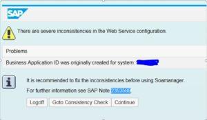 Webservice setup issue after system copy