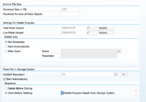 Data archiving technical customizing per object