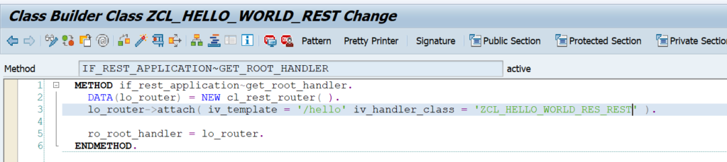 REST implementation of root handler